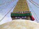 Kathmandu - Detail van de stupa van de Bodnath tempel